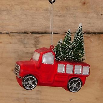 Widdop Gifts Red Truck with Trees Decoration