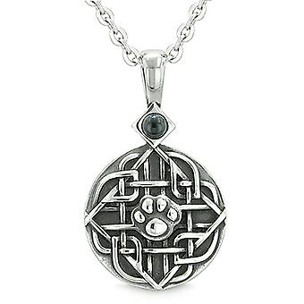 Amulet Celtic Shield Knot Baby Wolf or Cat Paw Simulated Onyx Protection PowerPendant Necklace