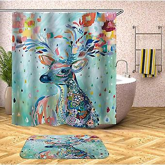Riot Of Colors Deer Painting Shower Curtain