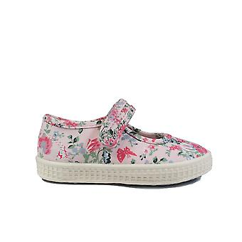 Startrite Posy Pink Floral Canvas Girls Mary Jane Shoes
