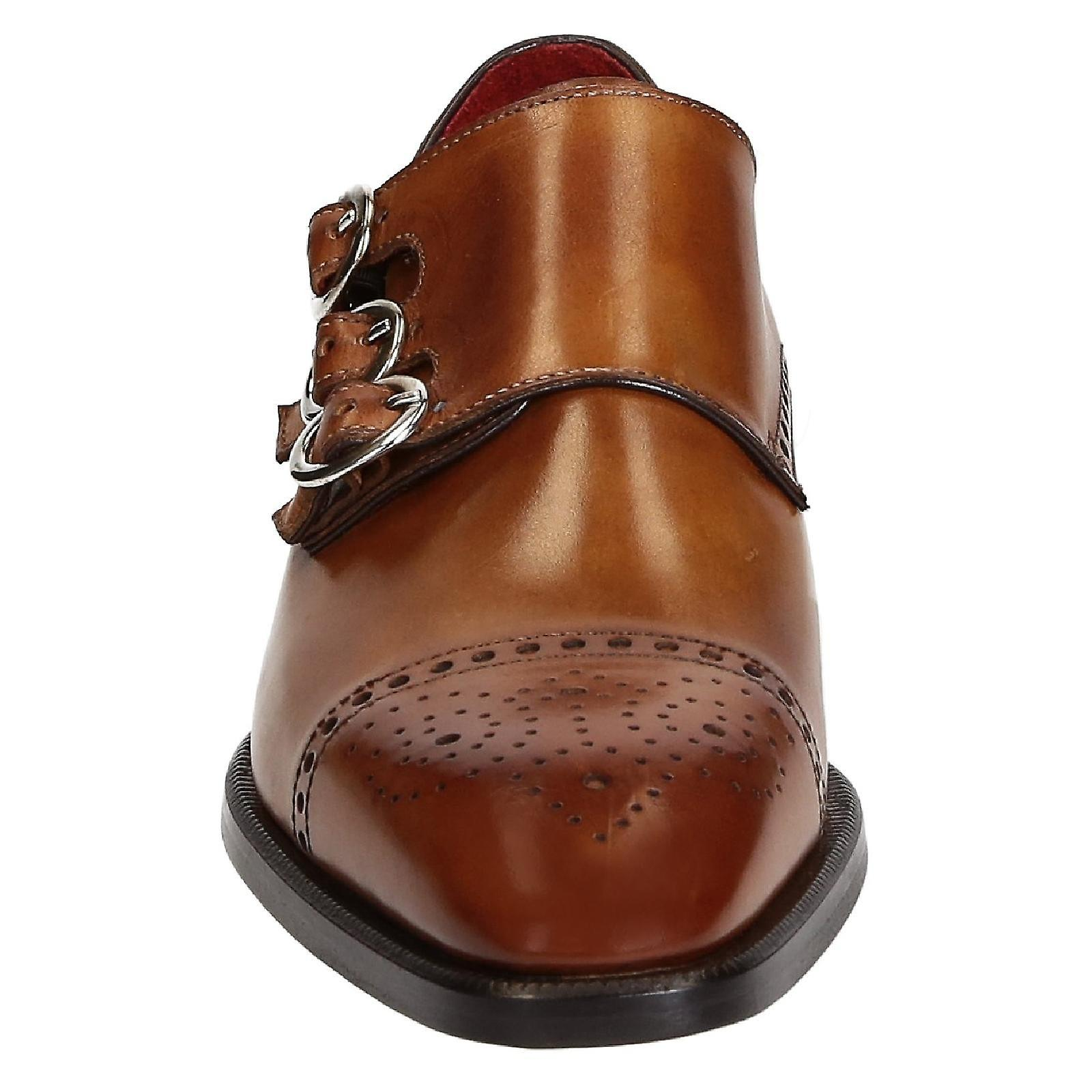 Leonardo Shoes Men's scarpe tripla monaco fatte a mano in pelle marrone chiaro GQLnbB