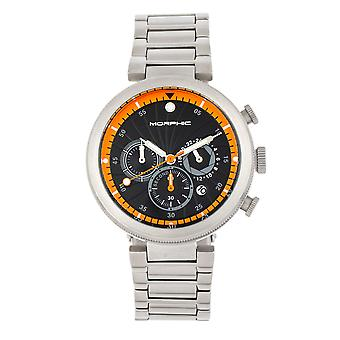 Morphic M87 Series Chronograph Bracelet Watch w/Date - Argent/Orange