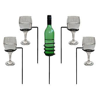Garden Pride Outdoor Drinks Holder - Wine Bottle & Glasses