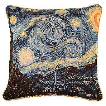 梵高星光夜垫盖 |艺术挂毯枕套 18x18 英寸 |乔夫-阿特-万戈-1