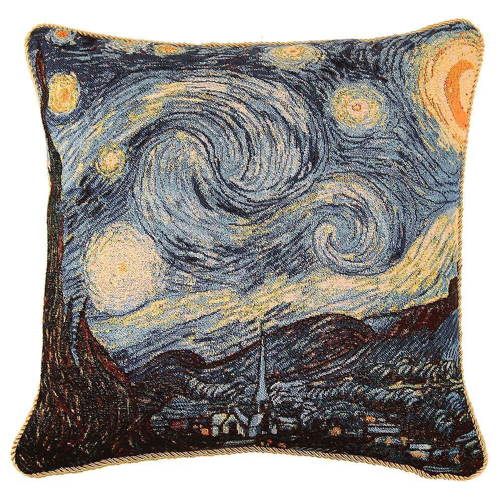 Van gogh starry night cushion cover | art tapestry pillow case 18x18 inch | ccov-art-vangogh-1