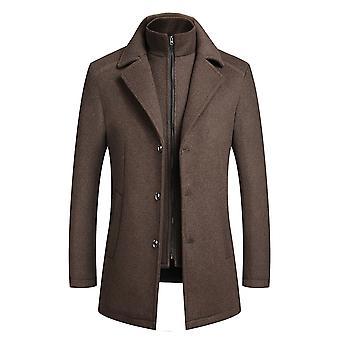 Allthemen miesten ' s vankka käänne 2 in 1 takki talvella hupullinen 3 painikkeet yksirivinen paksuuntua outwear Hupparit