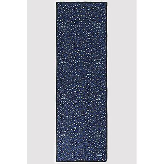 Silk satin scarf in blue leopard print