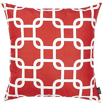 Red Lattice Decorative Throw Pillow Cover