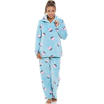 Camille super Fleece Aqua blå Cupcake Pyjama sett