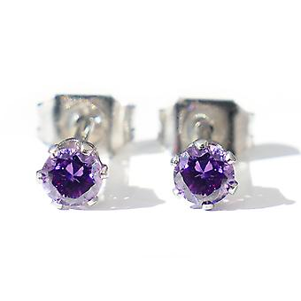 Ah! Jewellery Stainless Steel Amethyst Studs, Stamped 316