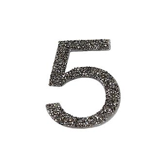 Gunmetal Glitter Number Sticker - Number 5
