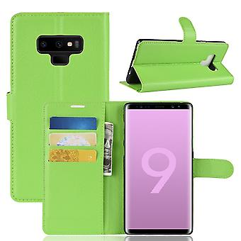 For Samsung Galaxy Note 9 Case,Lychee Texture Wallet Flip Leather Cover Green