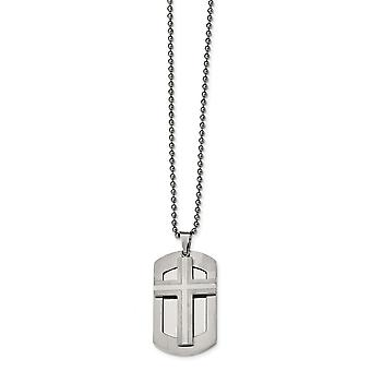 Stainless Steel Engravable Brushed and Polished Moveable Religious Faith Cross Animal Pet Dog Tag Necklace 24 Inch Jewel