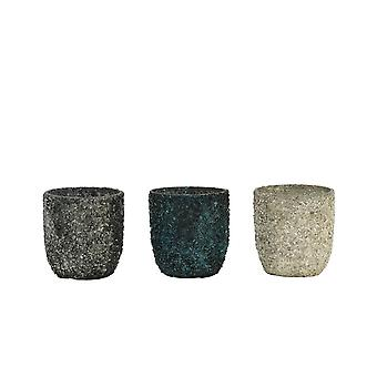 Light & Living Tealight 3 Set 6.5x7cm - Branca Turquese-Blue-Silver