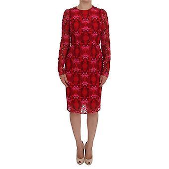 Dolce & Gabbana Czerwony Kwiatowy Ricamo Sheath Sukienka