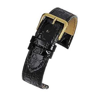 Crocodile grain watch strap black leather - economy collection