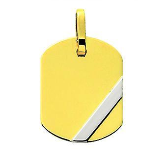Pingente de placa de ouro 375/1000 bicolor (9K)