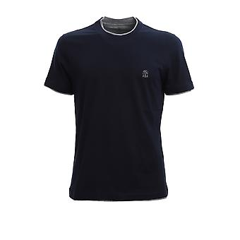 Brunello Cucinelli M0t617427gcd325 Men's Blue Cotton T-shirt