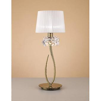 Loewe Table Lamp 1 Light E27 Big, Antique Brass With White Shade
