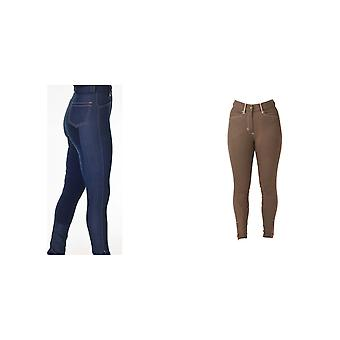 HyPERFORMANCE Womens/Ladies Denim Look With Leather Seat Breeches