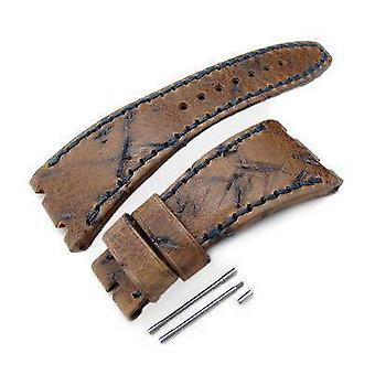 Strapcode leather watch strap heavy scratch brown leather of art watch strap, dark navy wax thread, custom made for audemars piguet royal oak offshore