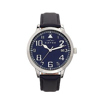 Elevon Sabre Leather-Band Watch w/Date - Silver/Navy/Navy