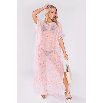 Kaftan alison short sleeve sheer maxi dress cover-up in salmon & sky
