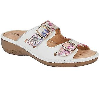 Boulevard Womens/Ladies Floral Twin Buckle Mule Sandal