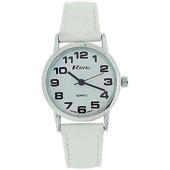 Ravel Ladies - Womens White Dial & White PU Buckle Strap Watch R0105.13.4L