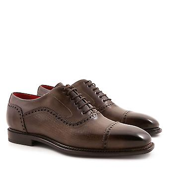 Handmade men's oxfords plain cap toe shoes