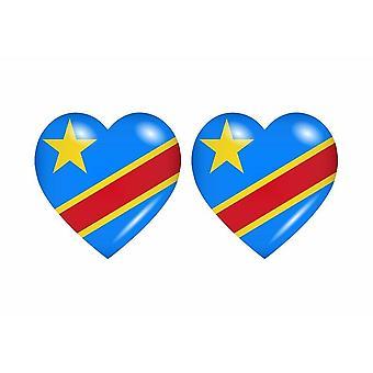2x Stick sticker flag heart CGO congo DRC