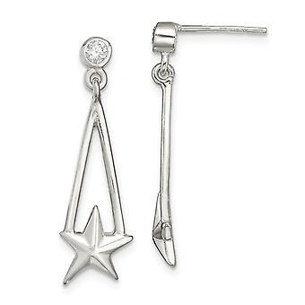 925 sterlinghopea CZ cubic zirkonia simuloitu diamond star pitkä pudota dangle korvakorut koruja lahjoja naisille