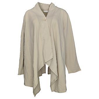 Denim & Co. Frauen's Plus Pullover wickeln Front Cardigan Beige A273100