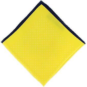 Michelsons de Londres Pin Dot com lenço de seda de fronteira - amarelo/Marinha