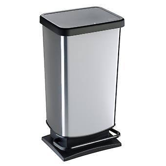 ROTHO Treteimer PASO 40 Liter eckig Silber metallic | Mülleimer für die einfache Müllentsorgung