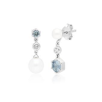 Moderni Pearl & Topaz Drop korvakorut 925 Sterling Hopea 270E027201925