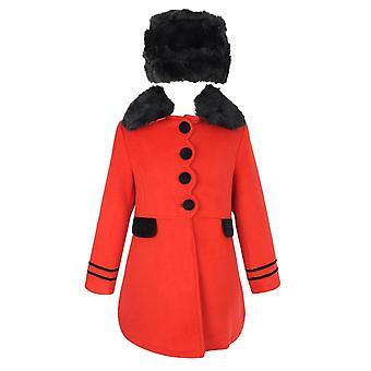 البنات مصمم معطف أحمر ومجموعة هات