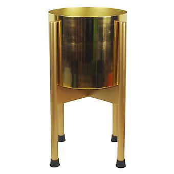 Medium Gold Stand with Gold Metal Planter 38.5cm x 18cm