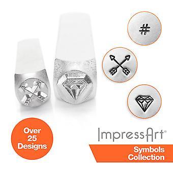 Símbolos impressart e estampagem de metal de design, selos metálicos
