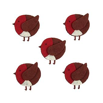 5 Felt Robin Embellishments for Christmas Crafts