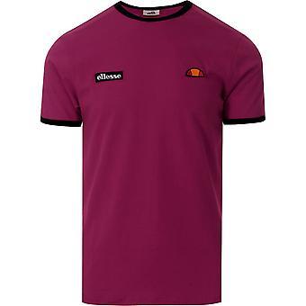 Ellesse Heritage Fedora Mens Retro Fashion T-Shirt Shirt Tee Burgundy