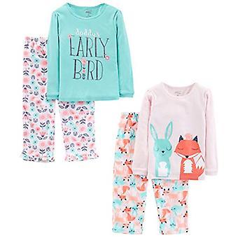 Simple Joys by Carter's Girls' Toddler 4-Piece Pajama Set, Daddy/Fox/Rabbit, 2T