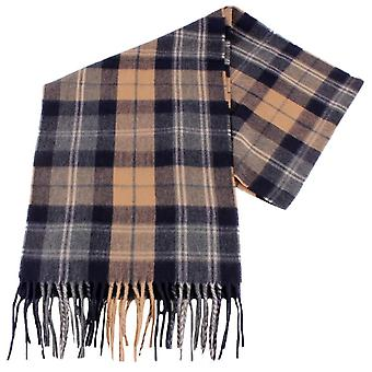 Fraas Checked Scarf - Camel Beige/Navy