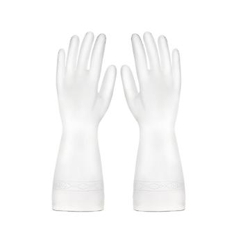 Luvas de borracha impermeável de lavagem de louças Brancas S
