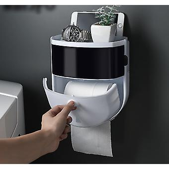 Semi-automatic Switch Dustproof Portable Waterproof Wall Mount Toilet Paper Holder - Toilet Paper Dispenser Home Bathroom Storage Rack