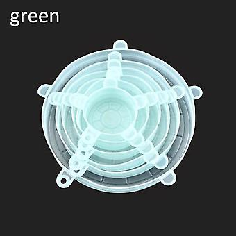6pcs Kitchen Universal Accessories Of Silicone Reusable Food Wrap Bowl Pot Cover - Silicone Stretch Lids Cooking Cookware Tool