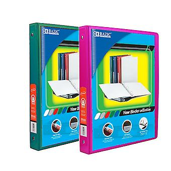 Combo25, BAZIC 1/2 Inch 3-Ring View Binder with 2-Pockets (Case pack of 24 consist 12-Green & 12-Fuschia)