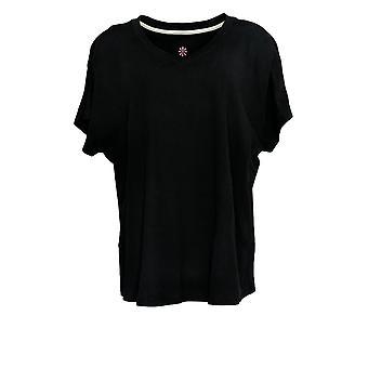 Isaac Mizrahi Live! Women's Top Pima Dolman Sleeve T-shirt Zwart A378935