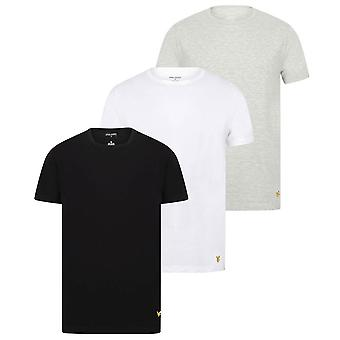 Lyle and Scott Maxwell Crew Neck 3 Pack Lounge T-Shirt - White/Grey Marl/Black