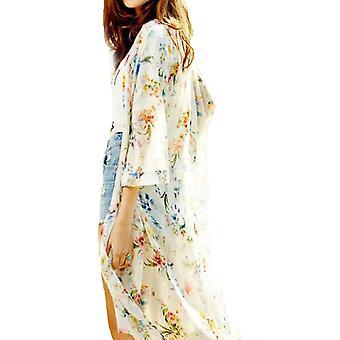 CROSS1946 Moda Femei's Sheer Chifon Kimono Cardigan Vintage Floral Lung Bluza Cover Up Outwear Beach